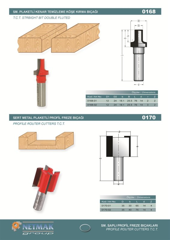 0170 Profile Router Cutters T.C.T
