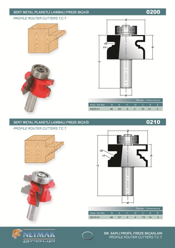 0200 Profile Router Cutters .T.C.T