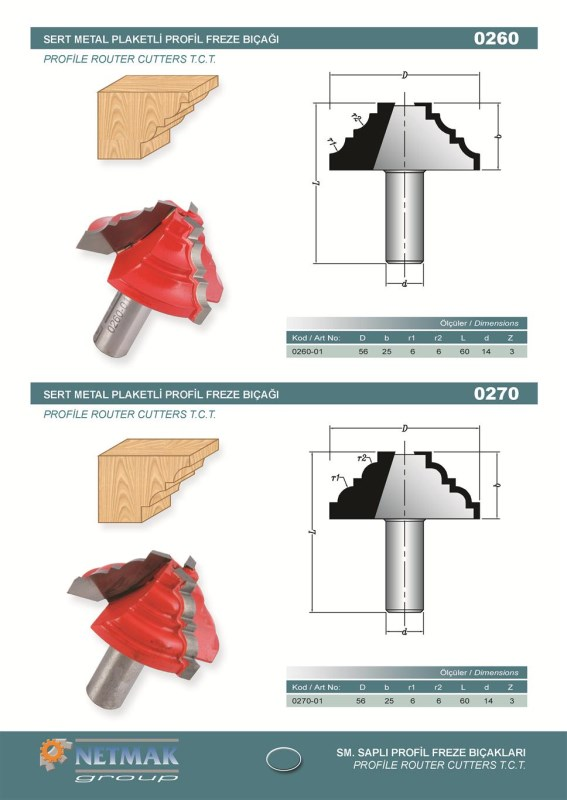 0270 Profile Router Cutters T.C.T