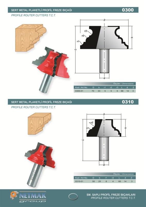 0300 Profile Router Cutters T.C.T