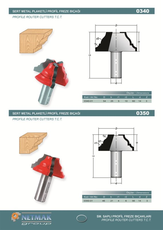 0350 Profile Router Cutters T.C.T