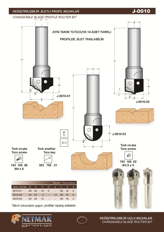 J-0010 Changeable Blade Profile Router Bit