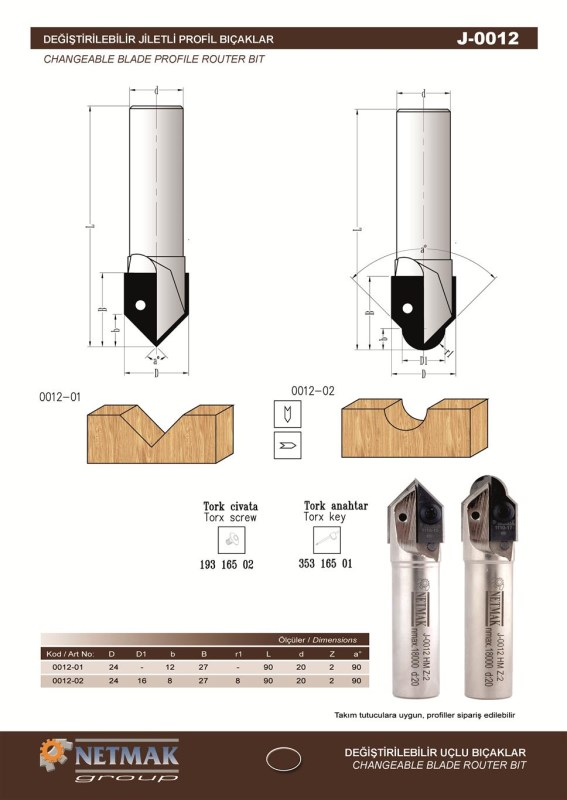 J-0012 Changeable Blade Router Bit
