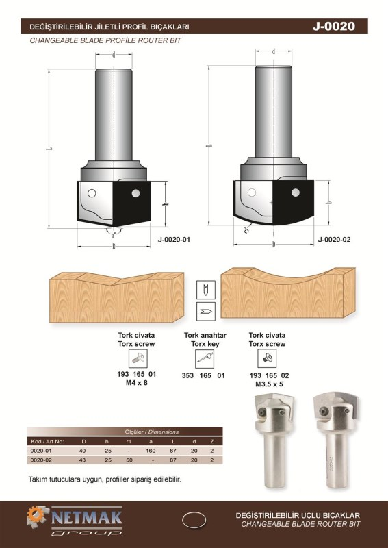 J-0020 Changeable Blade Profile Router Bit