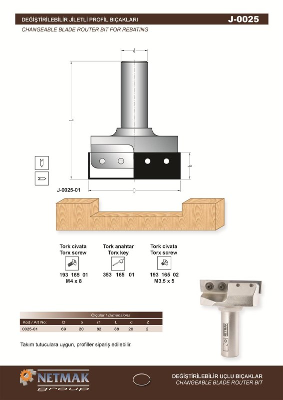 J-0025 Changeable Blade Router Bit