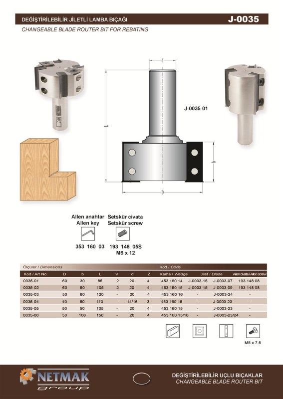J-0035 Changeable Blade Router Bit