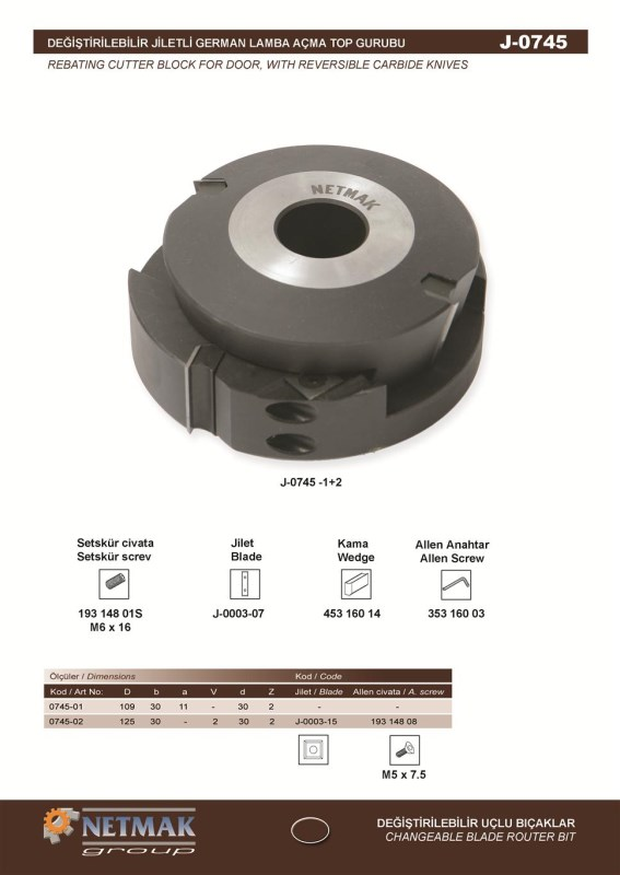 J-0745 Rebating Cutter Block For Door,With Reversible Carbide Knives