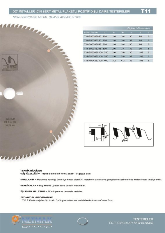 T11 Non-Ferrouse Metal Saw Blade/Pozitive