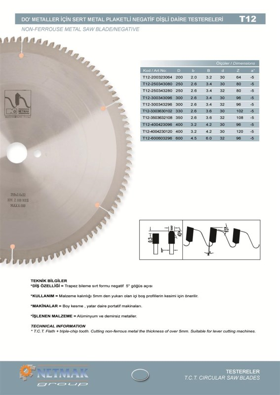 T12 Non-Ferrouse Metal Saw Blade/Negative