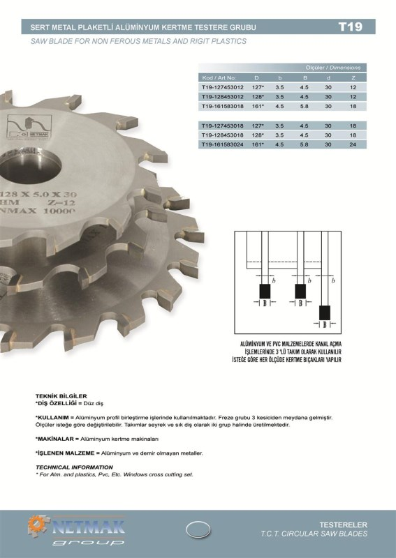 T19 Saw Blade For Non Ferous Metals And Rigit Plastics