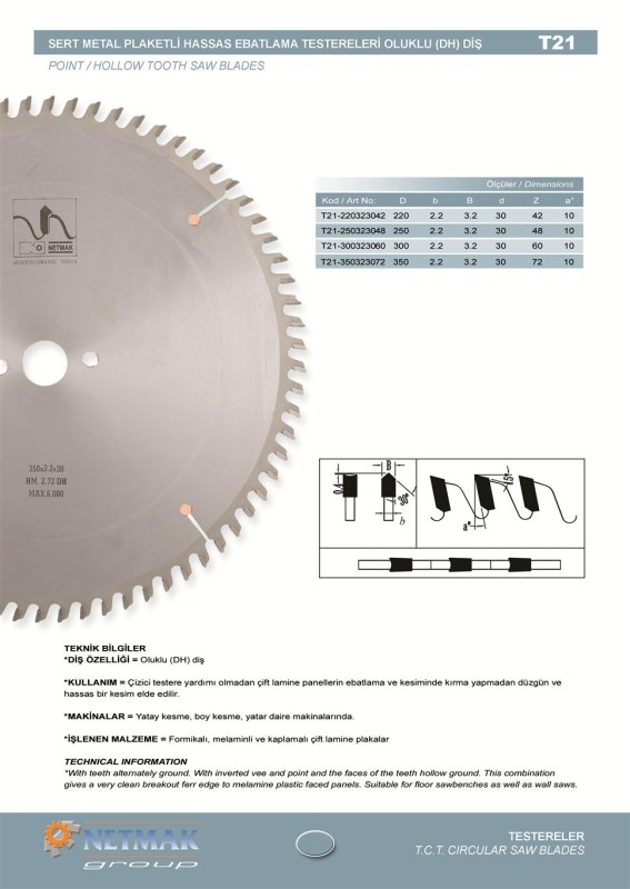 T21 Point/Hollow Tooth Saw Blades