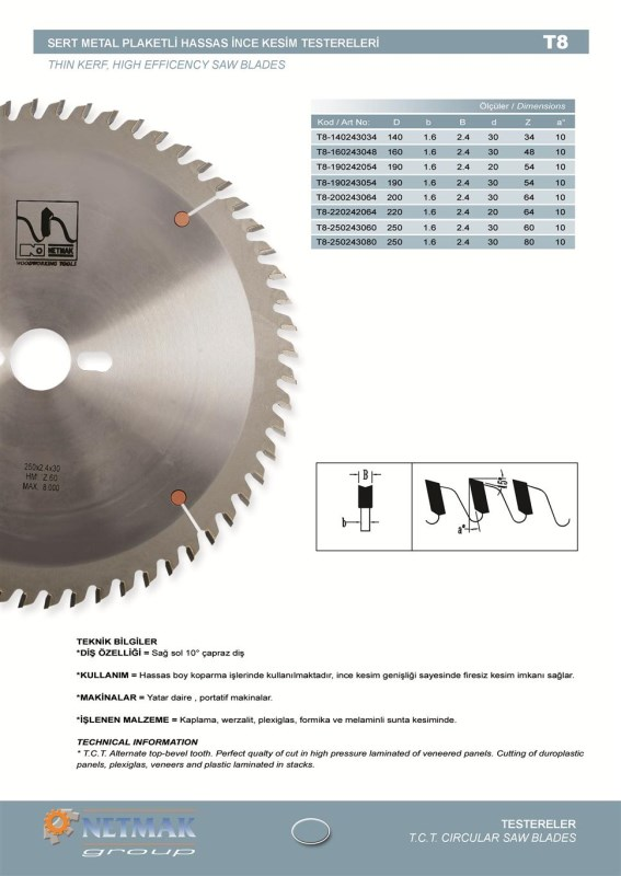 T8 Thin Kerf,High Efficeny Saw Blades